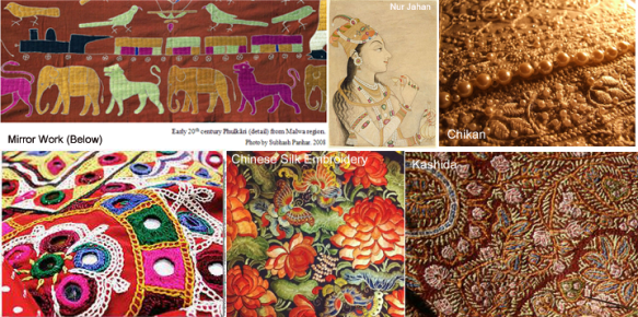Eastern Emboridery work: Phulkari, Chikan, Mirror Work, Chinese Embroidery & Kashida