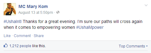 Mary Kom Facebook Status