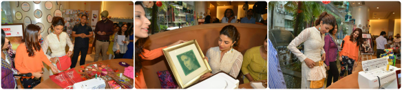 Priyanka Chopra being gifted with with the sewn portrait