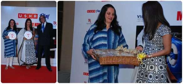 Director Chhaya Shriram handing Priyanka a Habadersery Basket