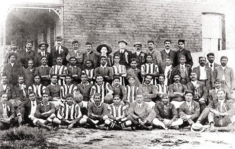 Mahatma Gandhi (6th from left back row) with a South African Football Team